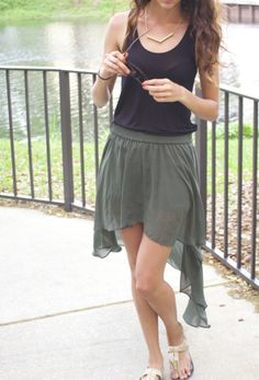 Green high low skirt, black tank top, arrow necklace, tortoise sunglasses, spring break summer outfit 2014