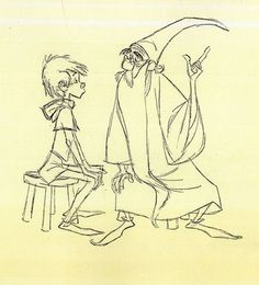 Milt Kahl-Sword in the Stone. I always pictured Harry and Dumbledore looking more like these two. Love them.