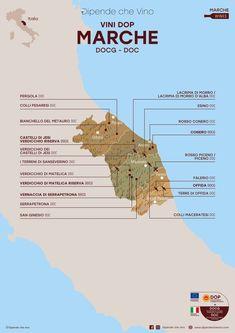 Tutti i vini DOP (DOCG e DOC) delle Marche, localizzati sulla carta regionale. Al link le informazioni sulle tipologie e sugli uvaggi.  Italian Wine Region Marche. Wine Pics, History Of Wine, Restaurant Concept, Italian Wine, Wine Making, Wine Drinks, Wine Recipes, Study, Wine Pairings