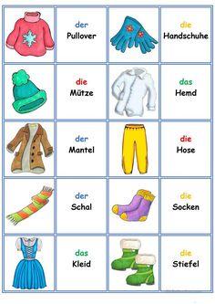 Spiele im Deutschunterricht: Memory - Kleidung und Accessoires