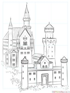How to draw the Neuschwanstein Castle step by step. Drawing tutorials for kids a… How to draw the Neuschwanstein Castle step by step. Drawing tutorials for kids and beginners. Castle Sketch, Castle Drawing, Castle Painting, House Drawing, Drawing Tutorials For Kids, Drawing For Beginners, Drawing For Kids, Pencil Art Drawings, Cartoon Drawings