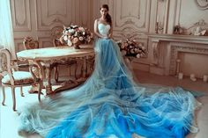 Alternative Corset Sky Blue Wedding Dress - A Line Non Traditional Wedding Gown With Very Long Train Two Piece Wedding Dress, Wedding Skirt, Custom Wedding Dress, Blue Wedding Dresses, Bohemian Wedding Dresses, One Piece Dress, Tulle Wedding, Blue Dresses, Wedding Gowns