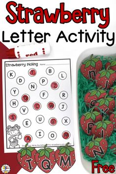 "It's National Pick Strawberries Day! Celebrate with this Strawberry Letter Recognition Activity! For more fun, add the strawberries to a sensory bin so your kids can ""pick"" the berries. This alphabet activity is a fun, hands-on way for pre-readers to practice identifying lowercase and capital letters. Through this sensory activity, they will also work on developing their fine motor skills when they color or write the letters. #letterrecogntionactivity #sensorybin #sensoryplay #sensoryactivity"