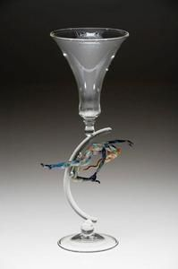 Clear Wine Goblet with Whimsical Figure Stem Detail