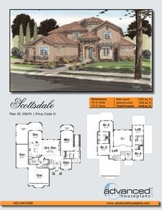 Scottsdale | Mediterranean 2 Story by Advanced House Plans