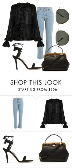 """Roman Holiday"" by lachasseauxpapillons ❤ liked on Polyvore featuring Current/Elliott, Dolce&Gabbana, Charlotte Olympia, Ray-Ban, chic, PolkaDots, fabulous, blouse and DenimStyle"
