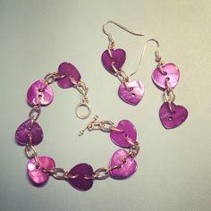 Button earrings and bracelet