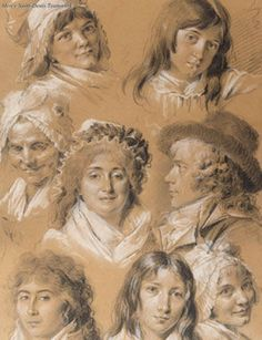 Louis Léopold Boilly (1761–1845), Portraits of the Artist's Family and Servants. Black and white chalk, on light brown wove paper.