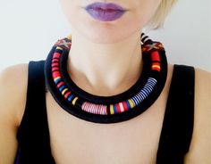 Multi Strand African necklace / fabric by UtopiaManufactory