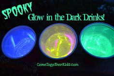 Spooky Glow-in-the-Dark Drinks - Because the glow sticks never touch the actual beverage, they're perfectly safe to drink (and perfectly cool to look at!)- Pinned by @PediaStaff – Please visit http://ht.ly/63sNt for all (hundreds of) our pediatric therapy pins
