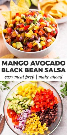 This healthy black bean salsa is absolutely LOADED with the goodies! Mango, avocado, sweet corn and peppers are all chopped up for this super easy , healthy party dip. We love how fresh this is, sweet but also with an extra kick from the lime juice. Dip Recipes, Appetizer Recipes, Salad Recipes, Healthy Recipes, Party Appetizers, Healthy Party Snacks, Fast Recipes, Healthy Salads, Black Bean Salsa Dip Recipe