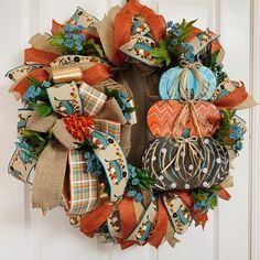 Fall Wreath, Autumn Wreath, Blue Pumpkin Wreath, Front Door Decor, Fall Decor, Fall Mesh Wreaths, Deco Wreaths, Autumn Wreaths, Holiday Wreaths, Thanksgiving Wreaths, Thanksgiving Decorations, Fall Decorations, Farmhouse Fall Wreath, Fall Room Decor