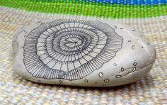 Doodled Rock Hand Drawn flower spiral OOAK by DustKatchers on Etsy