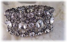 New w/Swarovski Clear Rivoli Crystal Stretch Cuff Bracelet Luxury Jewelry, Unique Jewelry, Handmade Jewelry, Bangle Bracelets, Bangles, Jewelry Stores, Wedding Jewelry, Swarovski Crystals, Jewelery
