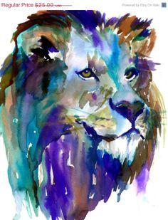 ArtAWhirl Sale The King by Jessica Buhman, Print of Original Watercolor Painting, 8 x 10 Lion Lioness Blue Green Purple Brown Yellow Safari