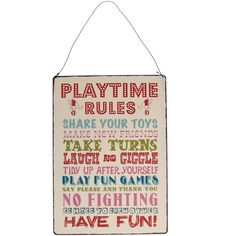"""Kinderzimmer Dekoration, Metallschild,Vintage, """"Playtime rules"""", von Rex"""