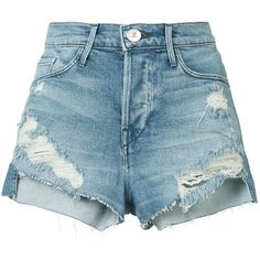 3X1 ripped denim shorts ($225) ❤ liked on Polyvore featuring shorts, blue, blue jean shorts, torn jean shorts, destroyed jean shorts, denim short shorts and ripped shorts