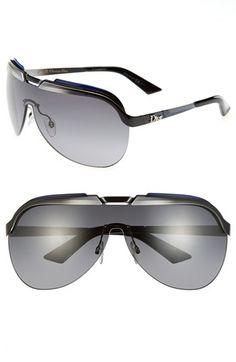 Women's Christian Dior 'Solar' Shield Sunglasses - Black/ White/ Grey