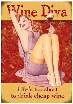 WINE DIVA RETRO POSTER - THICK CARD BOARD A4 VINTAGE KITCHEN PUB WALL ART DECOR   eBay