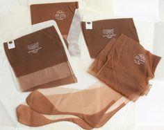 Vtg 4 Pair Nylon Back Seam Nylon Stocking Sz 9 Cuban Heel Short Sheer Tan Garter