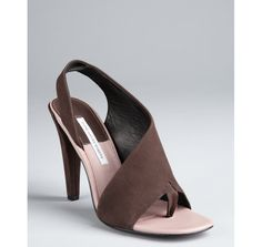 Diane Von Furstenberg dark brown brushed leather 'Morocco' slingback sandals - if she was still working!
