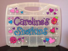 Hand Painted Personalized Shopkins Case Carrier by StuffForLittles