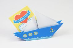 Printable DIY Origami Love Boat Card by oingeshop on Etsy