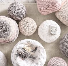 RH Baby & Child's Metallic Knit Cotton Round Pouf:Casual, soft-sided seating like our pouf is ideal in a child's room – the small scale fits little arms and legs beautifully and youngsters can move it all by themselves. Sparkling Lurex® threads woven through the knit cotton cover add a touch of glitter.