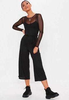 da060d1b89 Missguided Black Rib Cami Culotte Romper