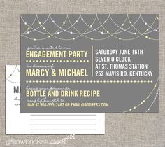 engagement stock the bar party invitation and drink recipe card - DIY printable by YellowBrickStudio