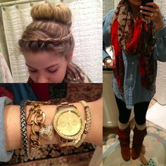 outfit for the day: •dutch braid into a sock bun •gold bracelets and watch •fringe boots, tan patterned boot socks, black leggings, oversized denim shirt, red and tan patterned scarf