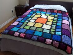 I can make this blanket for you in any number of colours. The layout will be the same as in the pictures, but the squares and the join colour can be