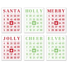 Mini Jolly Santa Bingo Cards