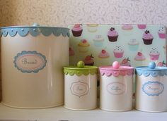 Retro Style Canisters and Cupcake Glass Chopping Board by **Cupcake Boutique**, via Flickr
