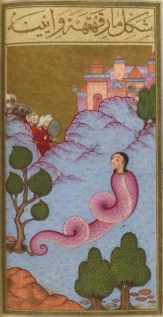 "Le Serpent Rieur (mar-ı kahkaha). Mehmed ibn Emir Hasan al-Su'ûdî, Matâli' al-su'âda wa yanâbi' al-siyâda (""Le livre du bonheur""), Istanbul (Turquie) Medieval Manuscript, Medieval Art, Illuminated Manuscript, Serpent, Ancient Art, Mythical Creatures, Islamic Art, Indian Art, Middle Ages"