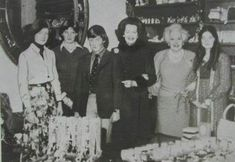 Lady Diana, with her sister Sarah brother Charles, her stepmother Raine, step grandmother Babara Cartland, and step sister at Althorp