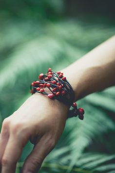 Red beaded bracelet - reminds me of pomegranate seeds & holly berries :-)  #handmade #jewelry