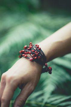 Red beaded bracelet - reminds me of pomegranate seeds & holly berries :-)   . . .  ღTrish W ~ http://www.pinterest.com/trishw/  . . .  #handmade #jewelry #beading