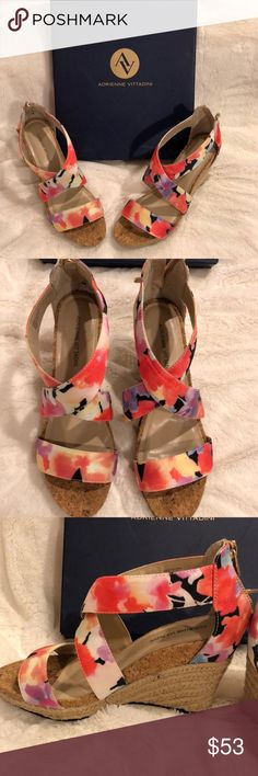 Pretty watercolor floral wedges! Step into spring with these Adrienne Vittadini wedges! With box. Shoes Wedges