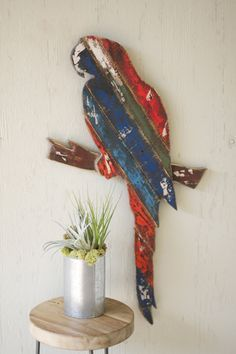 reclaimed wood parrot wall hanging  $59.00