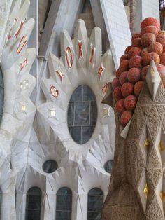 Oval Window and Fruit Topped Tower La Sagrada Familia Barcelona