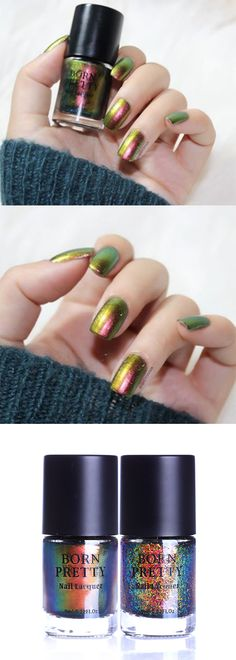 #bornpretty chameleon #nailpolis, apply 2-3 layers to get better effect, more details shared in bornprettystore.com. #bornpretty Born Pretty Nail Polish, Best Gel Nail Polish, Pretty Nails, Chameleon Nails, Nail Art Supplies, Us Nails, Nail Stamping, Nail Artist, Nail Art Designs