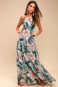 Love Abloom Grey Floral Print Lace-Up Maxi Dress