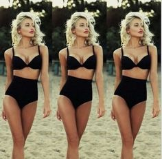 Classic Retro Style High Waist Padded Push Up 2 PC Bikini Bathing Suit S-XL - Loluxe - 1