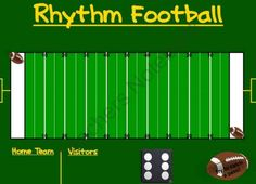 Rhythm Football (Rhythms with Half Notes) SMART Board product from Music-and-Technology on TeachersNotebook.com