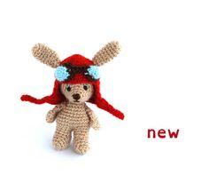 Amigurumi rabbit crochet small toy aviator bunny funny gift for boys mini cuddly plush ooak doll barbie dollhouse accessories Crochet Mouse, Crochet Teddy, Crochet Bunny, Gifts For Boys, Girl Gifts, Funny Rabbit, Artisan & Artist, Dollhouse Accessories, Ooak Dolls
