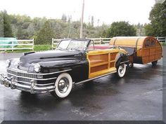 1947 Chrysler Town and Country Convertible Woody with Trailer via Car and Classic - Road Trip, Traveling in style