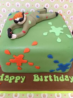 Paint balling birthday cake