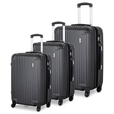 TravelCross Luggage 3 Piece (ABS) Spinner Set w/ TSA lock and Global Tracking System