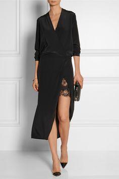 Mason by Michelle Mason|Wrap-effect washed-silk georgette midi dress|NET-A-PORTER.COM
